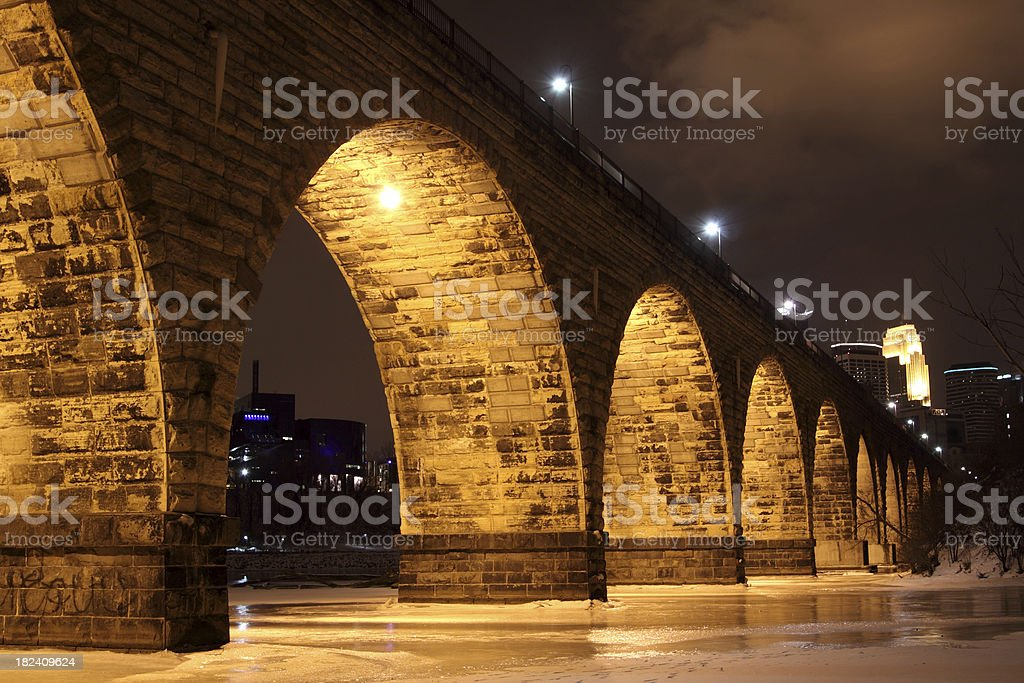 Stone Arch Bridge - Minneapolis Minnesota stock photo