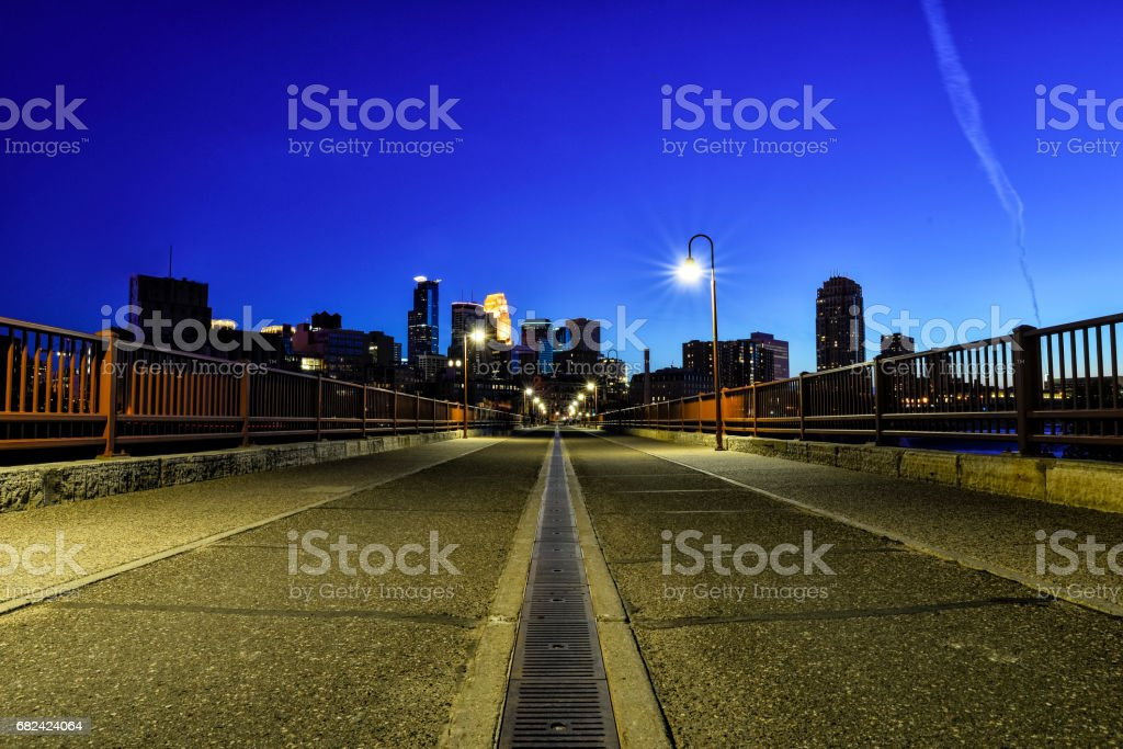 Stone Arch Bridge Path in Minneapolis at Dusk royalty-free stock photo