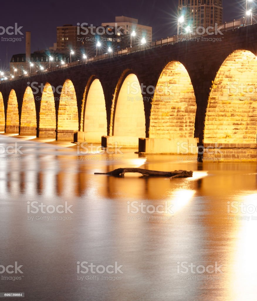 Stone Arch Bridge St Paul Minnesota Mississippi River Night stock photo
