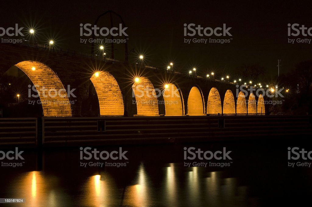 Stone Arch Bridge Under Lights stock photo
