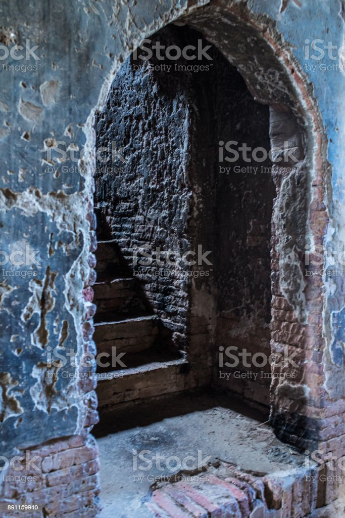 Stone archway in an ancient temple in Bagan Myanmar (Burma) stock photo