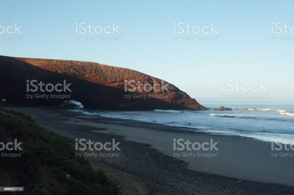Stone arcs at Legzira beach, Morocco stock photo