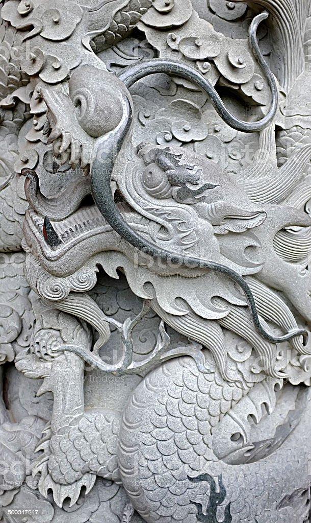 Stone Asian dragon stock photo