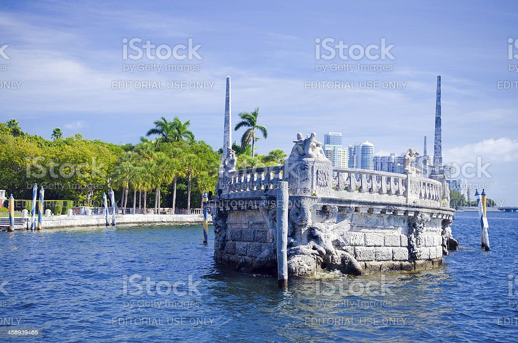 Stone barge in Biscayne Bay at Vizcaya Museum and Gardens stock photo