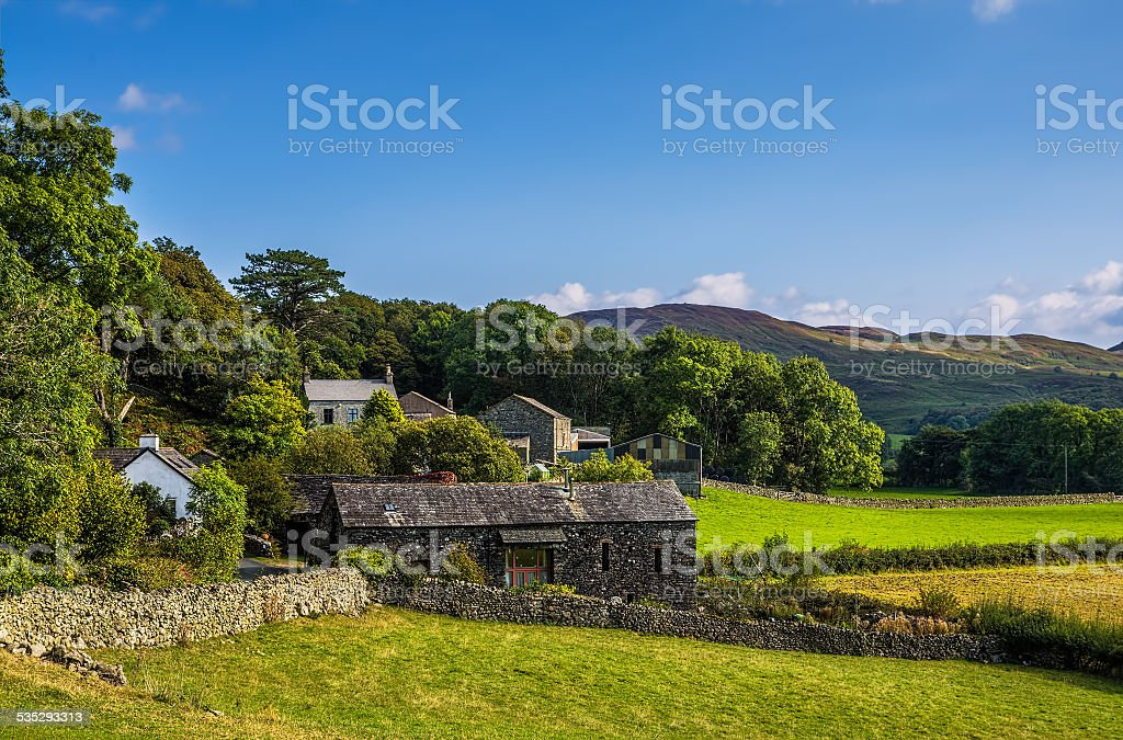 Stone barn in Cumbria stock photo