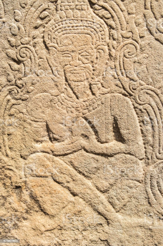 Stone Bas-relief in Preh Khan temple, Siem Reap, Cambodia royalty-free stock photo
