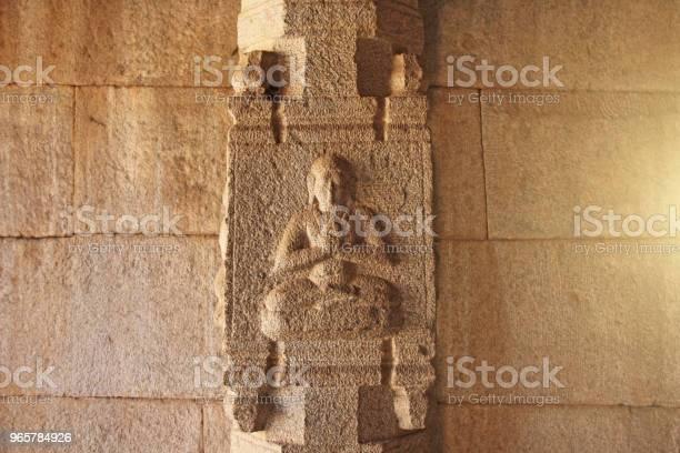 Stone Basreliefs On The Column In Hazara Rama Temples Hampi Carving Stone Ancient Background Carved Figures Made Of Stone Unesco World Heritage Site Karnataka India Buddha Krishna Stock Photo - Download Image Now