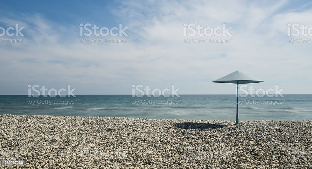 Stone Beach and blue sky royalty-free stock photo