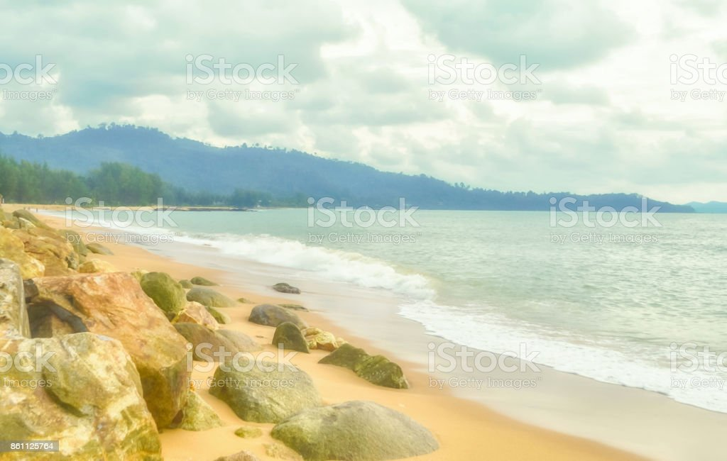 Stone beach landscape background ,Bang Neing Bech, Phang Nga ,Thailand stock photo
