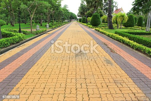 485413653istockphoto Stone block runway, the walkway in the park garden: Select focus with shallow depth of field. 674873576