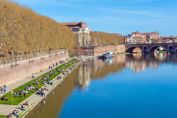 Stone Bridge across Garonne, Toulouse stock photo