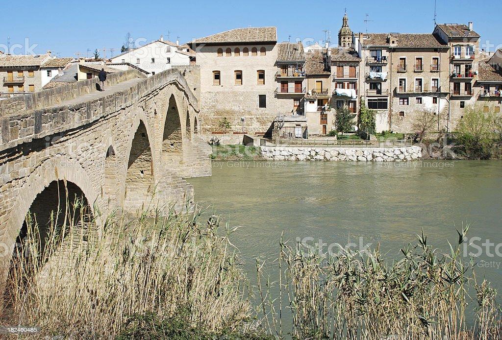Stone bridge across river in northern Spain royalty-free stock photo