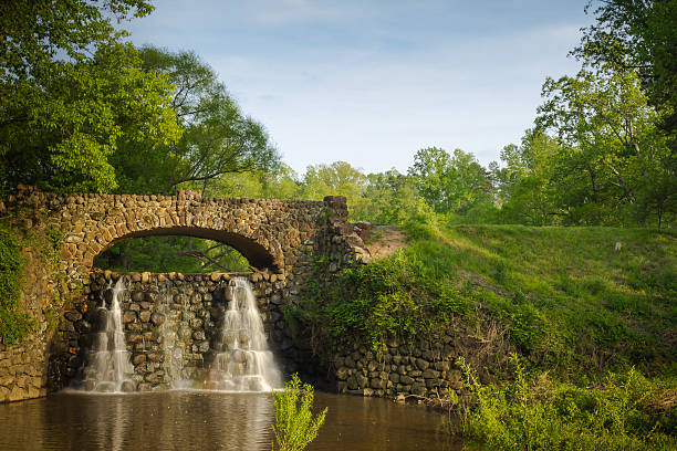 Stone Bridge and Waterfall in Reynolda Gardens