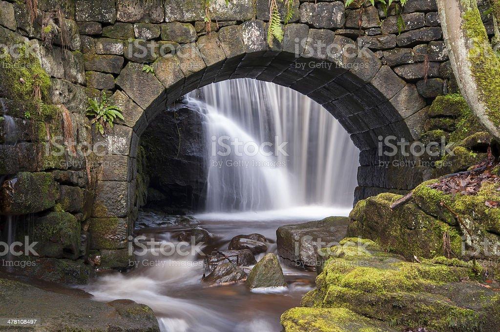 stone bridge and waterfall royalty-free stock photo