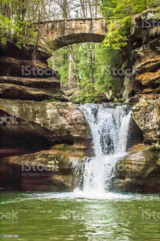 Stone Bridge and Waterfall stock photo