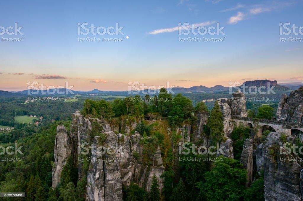Stone bridge Bastei in the National Park Saxon Switzerland. Germany, Saxony stock photo