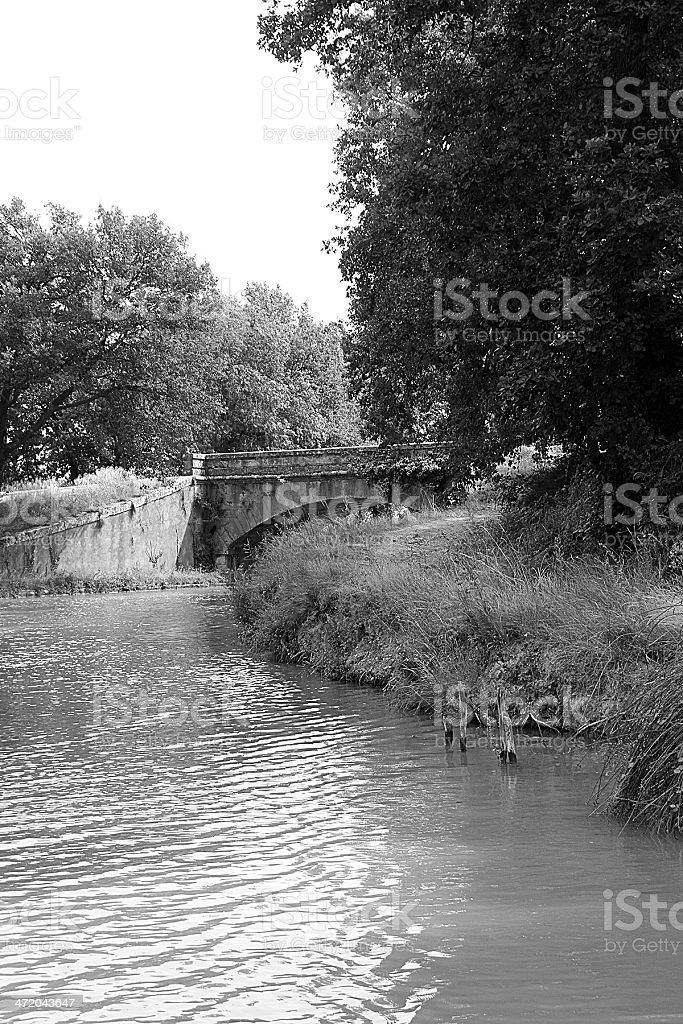 Stone Bridge - Canal du Midi royalty-free stock photo