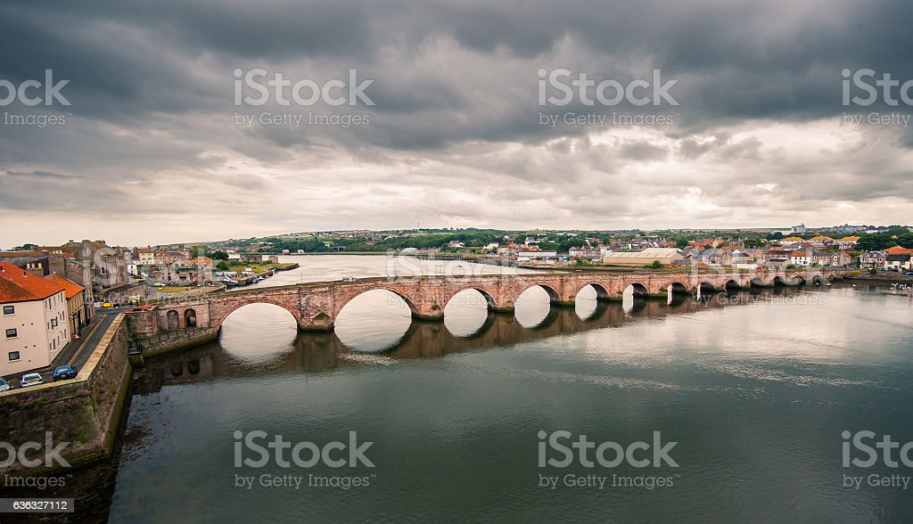 Stone bridge in Berwick stock photo