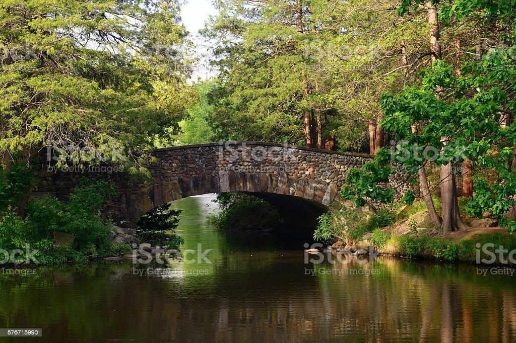 Stone bridge in Elizabeth Park of Hartford stock photo
