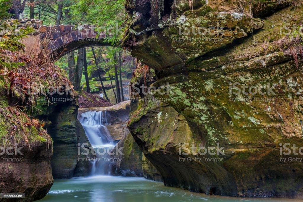 Stone Bridge in Hocking Hills State Park in Ohio stock photo