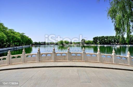 Stone bridge in houhai lake at sunny day, Beijing, China.