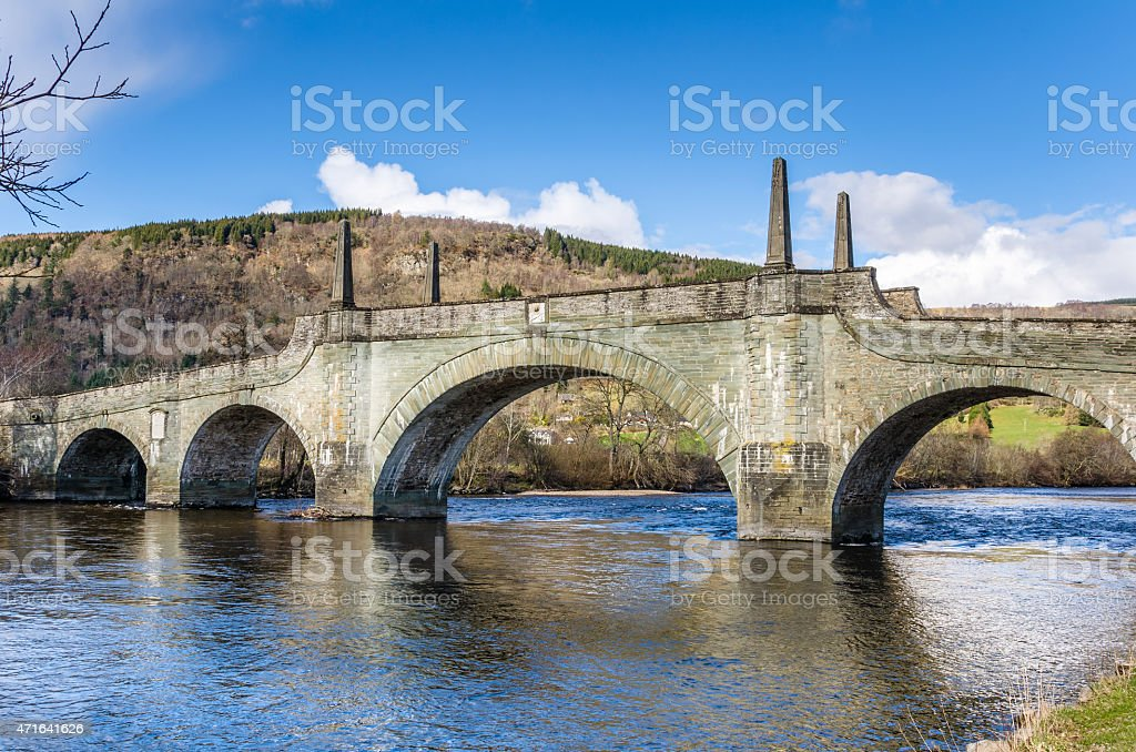 Stone Bridge In Scotalnd and Blue Sky stock photo