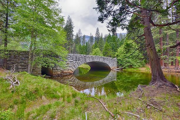 Stone bridge in Yosemite stock photo