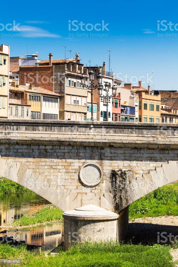 Stone bridge of Girona stock photo