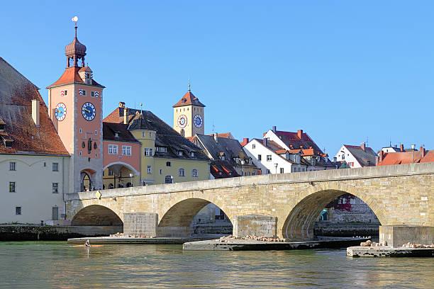 Stone Bridge over Danube in Regensburg, Germany stock photo
