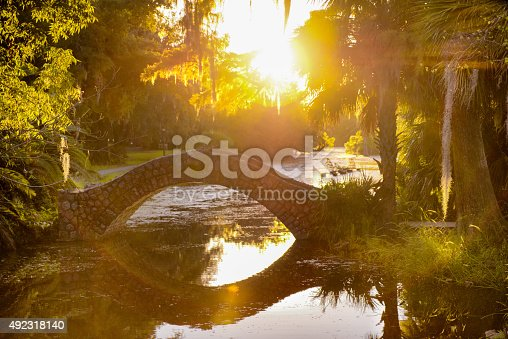 Rustic stone bridge arching over the still water in City Park in New Orleans, Louisiana at dusk with palm trees and Cypress trees