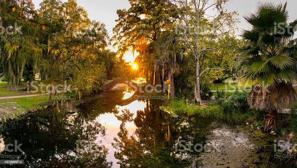 Stone Bridge Over Swamp, City Park New Orleans stock photo