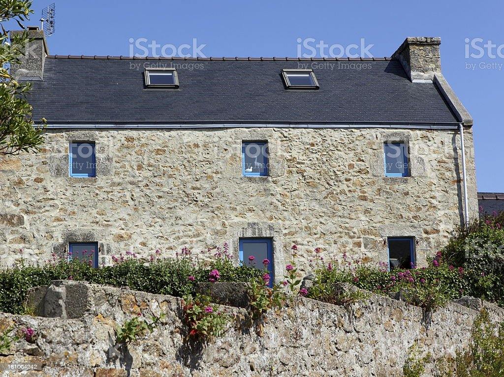 Stone Brittany house in France. stock photo