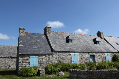 Stone Brittany house in France.