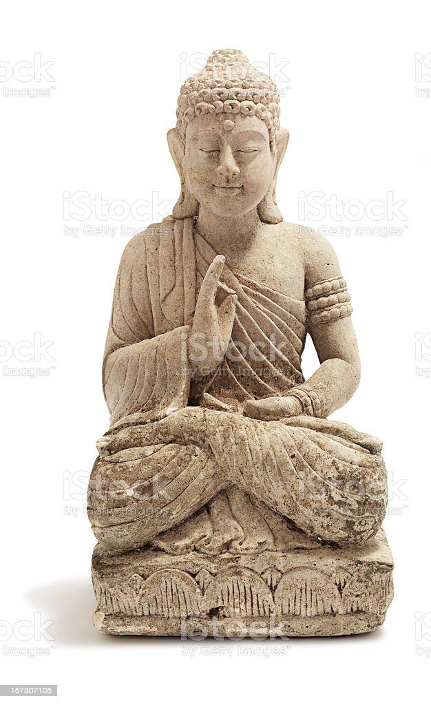 A stone Buddha ornament on a white background stock photo