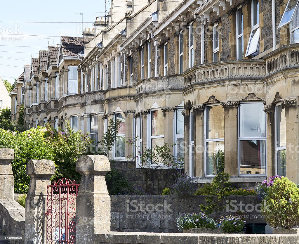 Stone built terraced houses in Bath royalty-free stock photo