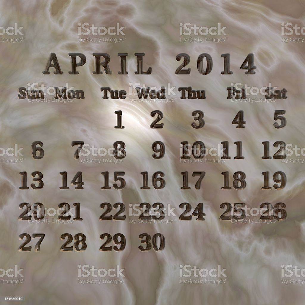 Stone calendar 2014, April royalty-free stock photo