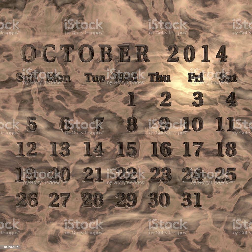 Stone calendar 2014, October royalty-free stock photo