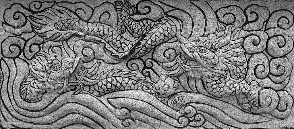 stone carve dragon royalty-free stock photo