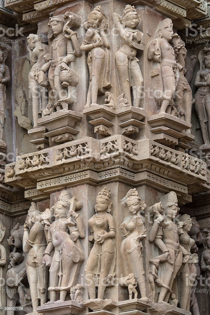 Stone carved erotic basrelief in hindu temple khajuraho