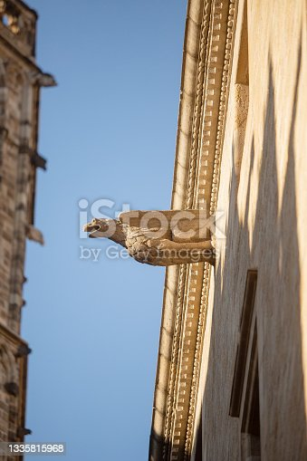 istock Stone carved Gargoyle mounted on the exterior of a historic building in Barcelona 1335815968