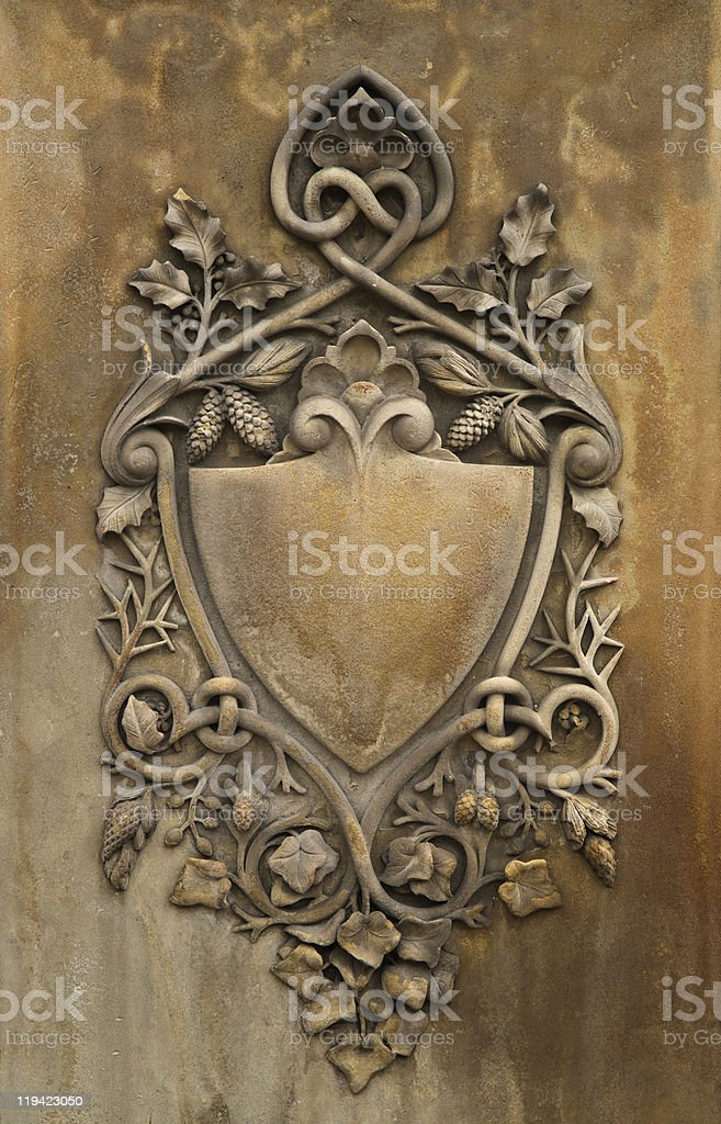 Stone Carved Shield stock photo
