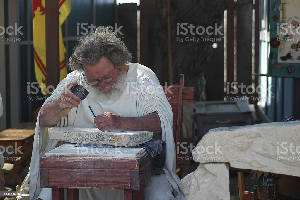 stone carver stock photo