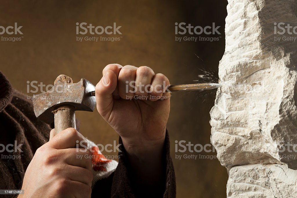 Stone carver's hands – Foto
