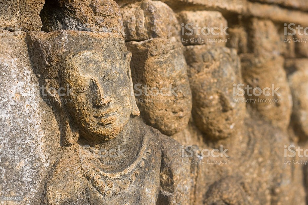 Stone carving at Buddhist temple, Indonesia. royalty-free stock photo