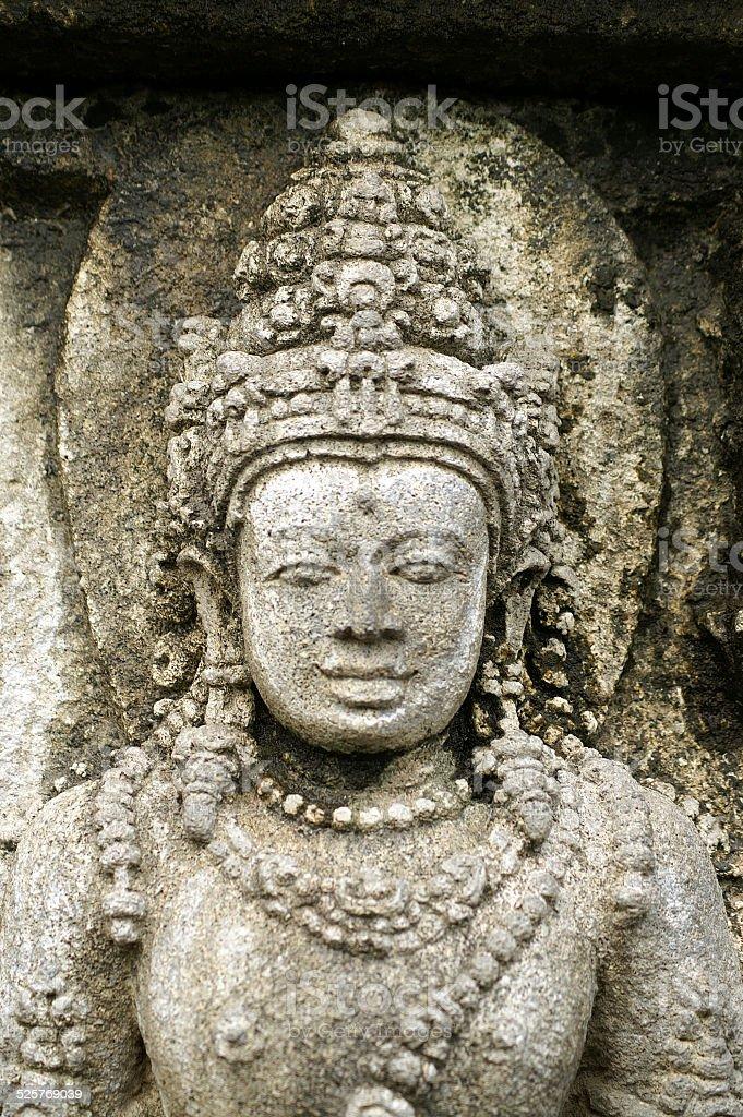 Stone carving at the Prambanan Temple stock photo
