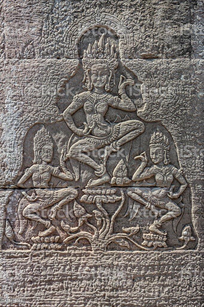 Stone Carving Bas-Relief at Angkor Wat stock photo