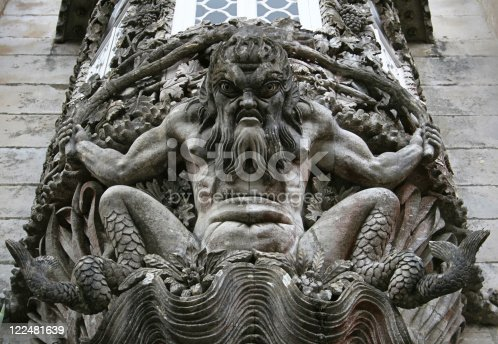 istock Stone carving in wall at Palacio da Pena, Portugal 122481639