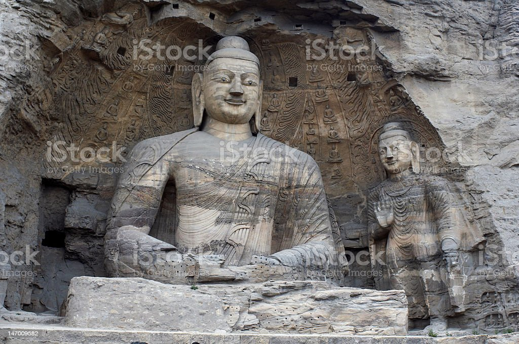 Stone carving of  buddha in Yungang grottoes royalty-free stock photo