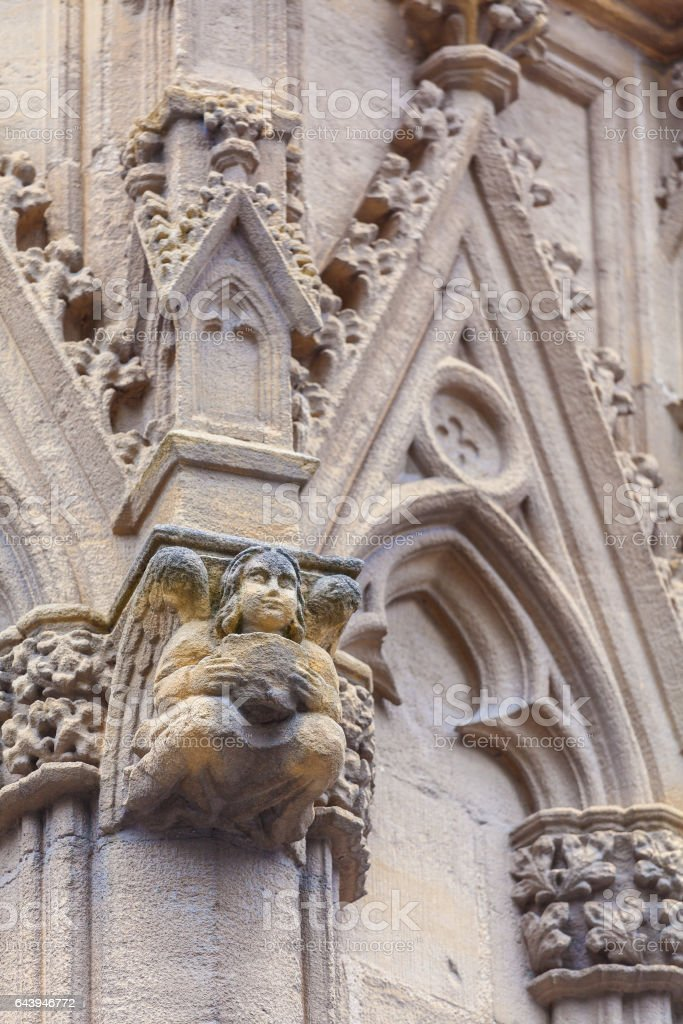 Stone Carving of Cathedral Sainte-Marie de Bayonne stock photo