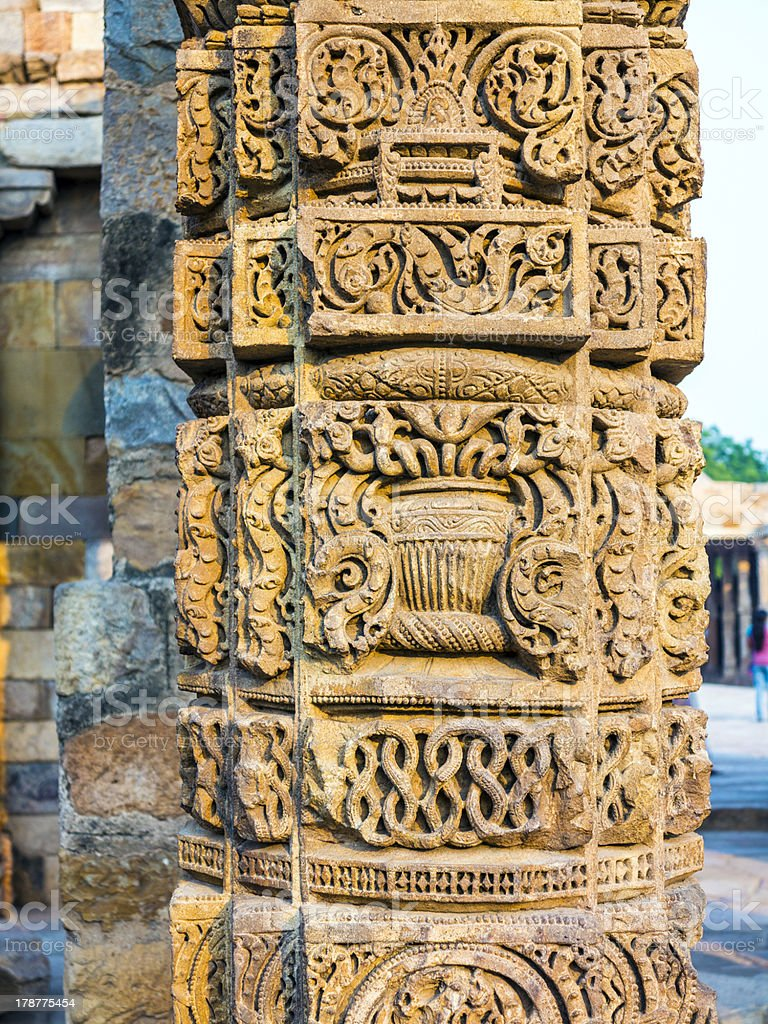stone carvings at pillars, Qutab Minar, Delhi royalty-free stock photo